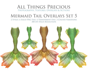 MERMAID TAILS Set 5 - Digital Overlays