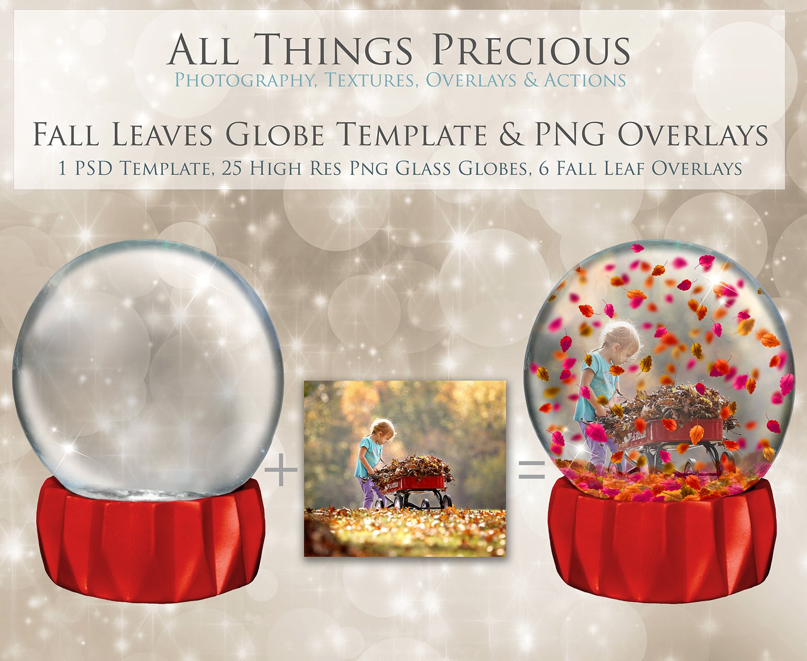 SNOW GLOBE Png Digital Overlays and PSD Template No.13