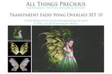 Load image into Gallery viewer, 20 Png TRANSPARENT FAIRY WING Overlays Set 10