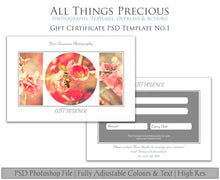 Load image into Gallery viewer, GIFT CERTIFICATE - PSD Template No. 1