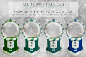 SNOW GLOBE Png Digital Overlays and PSD Template No.17