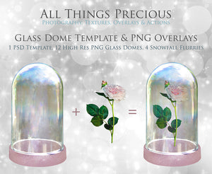 SNOW DOME Png Digital Overlays and PSD Template No.1