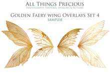 Load image into Gallery viewer, 14 Png GOLDEN FAIRY WING Overlays Set 4