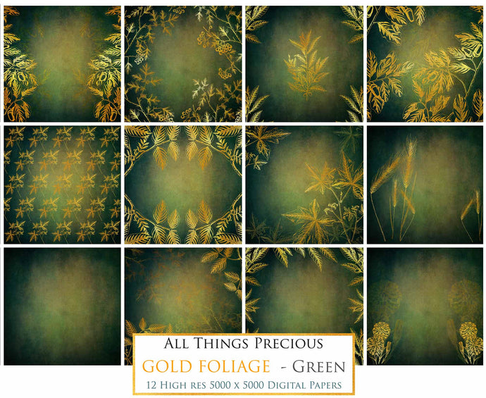 Copy of GOLD FOLIAGE - Dark Green - Digital Papers
