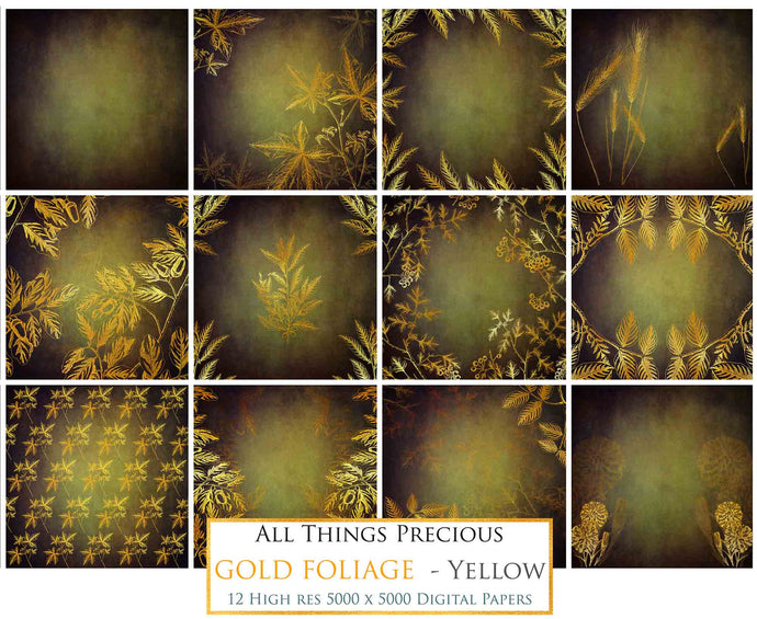 GOLD FOLIAGE - Dark Yellow - Digital Papers