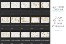 Load image into Gallery viewer, GOLD GLITTER LOVE HEART Digital Overlays