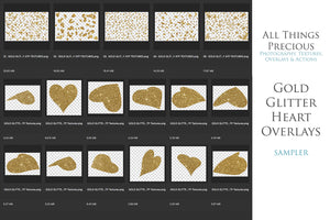 GOLD GLITTER LOVE HEART Digital Overlays