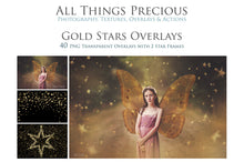 Load image into Gallery viewer, 40 GOLD FOIL STAR Digital Overlays