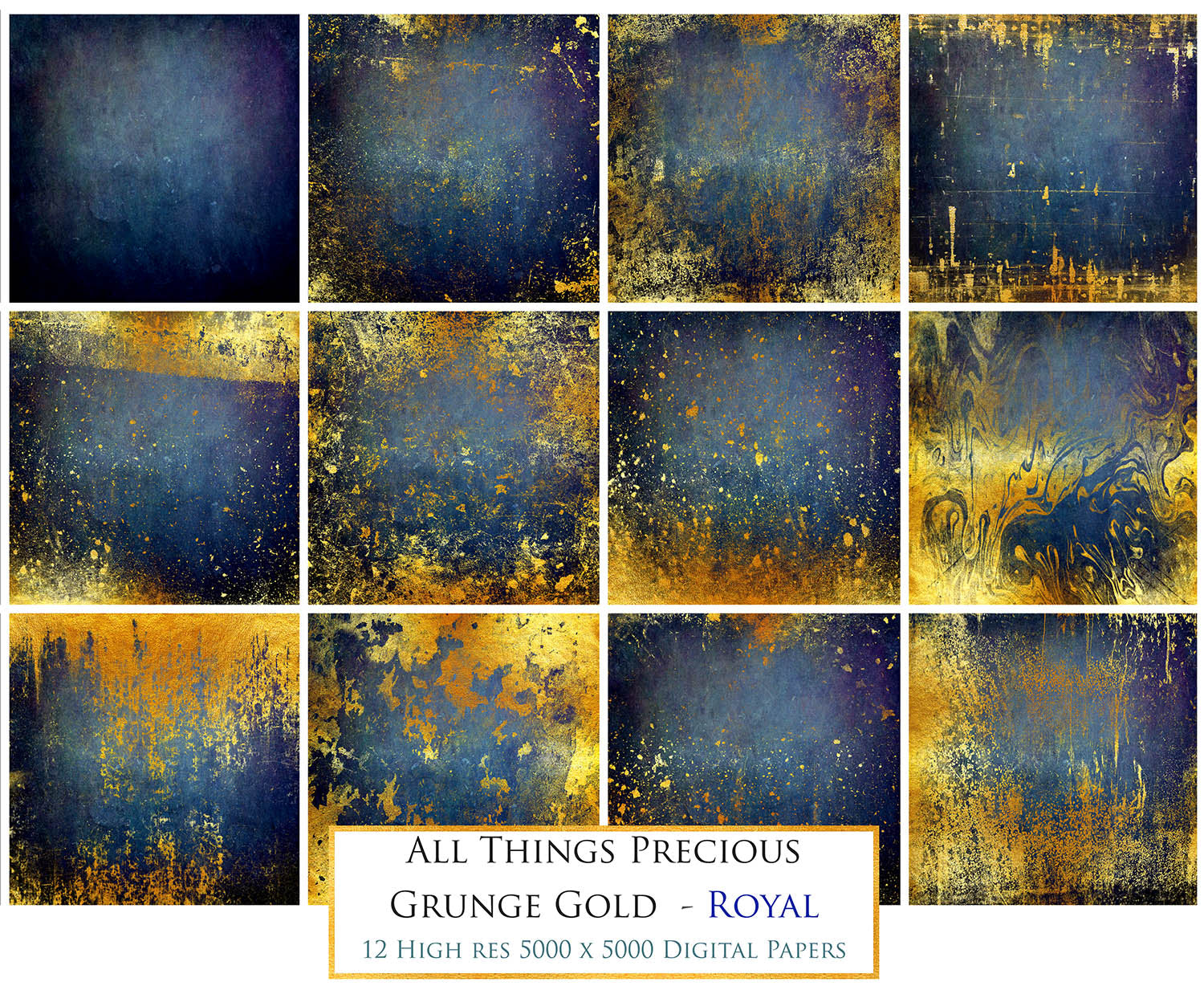 GRUNGE GOLD - ROYAL  Digital Papers