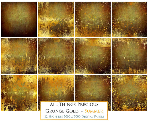 GRUNGE GOLD - SUMMER  Digital Papers