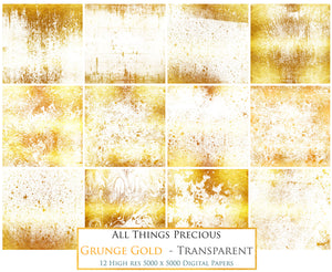 GRUNGE GOLD - Transparent Digital Papers