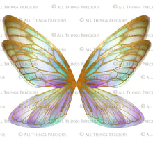 Load image into Gallery viewer, 20 FAIRY WING Overlays - Png GILDED & COLOURED TRANSPARENT Set 4