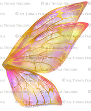 Load image into Gallery viewer, 20 FAIRY WING Overlays - Gold GILDED & COLOURED - TRANSPARENT Set 2