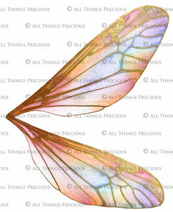 20 FAIRY WING Overlays - Gold GILDED & COLOURED - TRANSPARENT Set 2