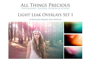 24 LIGHT LEAK FLARE Set 1 Digital Overlays