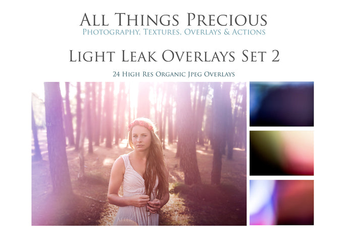 24 LIGHT LEAK FLARE Set 2 Digital Overlays