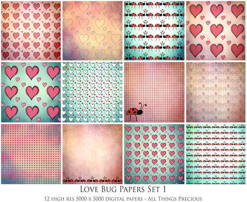 LOVE BUG Digital Papers Set 1