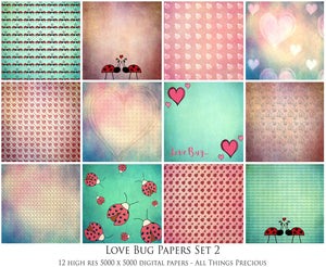 LOVE BUG Digital Papers Set 2