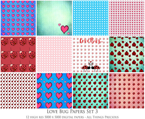 LOVE BUG Digital Papers Set 3