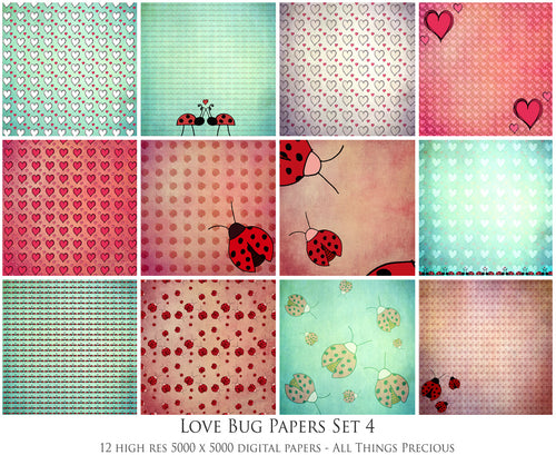 LOVE BUG Digital Papers Set 4