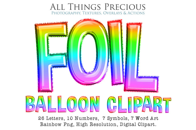 FOIL BALLOON LETTERS Clipart - RAINBOW - FREE DOWNLOAD
