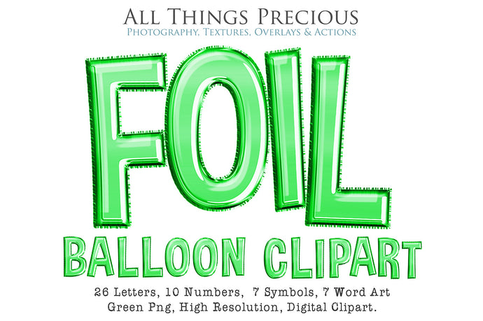 FOIL BALLOON LETTERS Clipart - GREEN - FREE DOWNLOAD