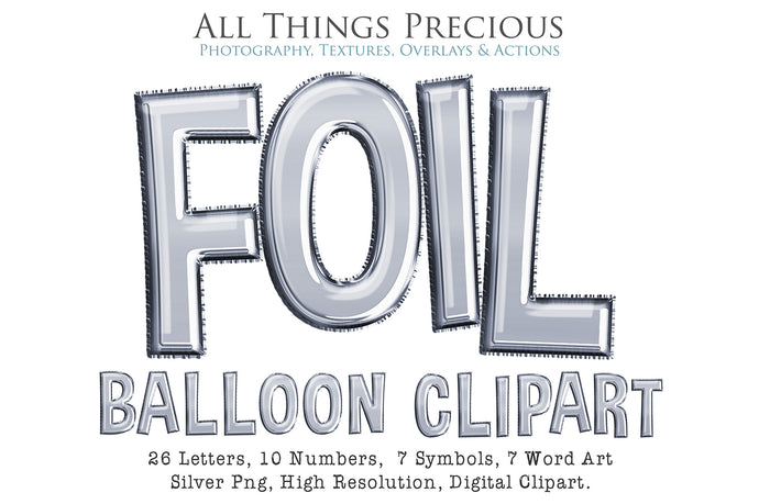 FOIL BALLOON LETTERS Clipart - SILVER - FREE DOWNLOAD