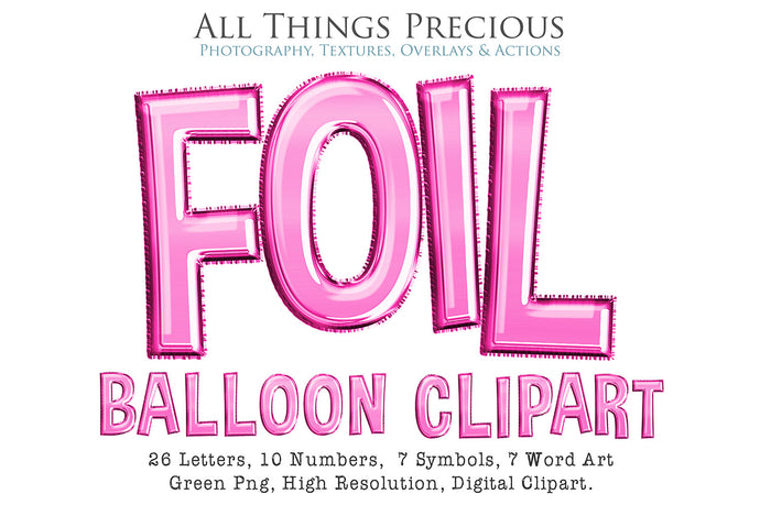 FOIL BALLOON LETTERS Clipart - PINK - FREE DOWNLOAD