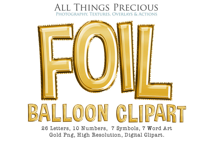 FOIL BALLOON LETTERS Clipart - GOLD - FREE DOWNLOAD