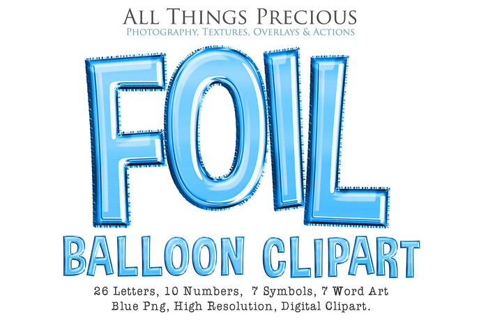 FOIL BALLOON LETTERS Clipart - BLUE - FREE DOWNLOAD