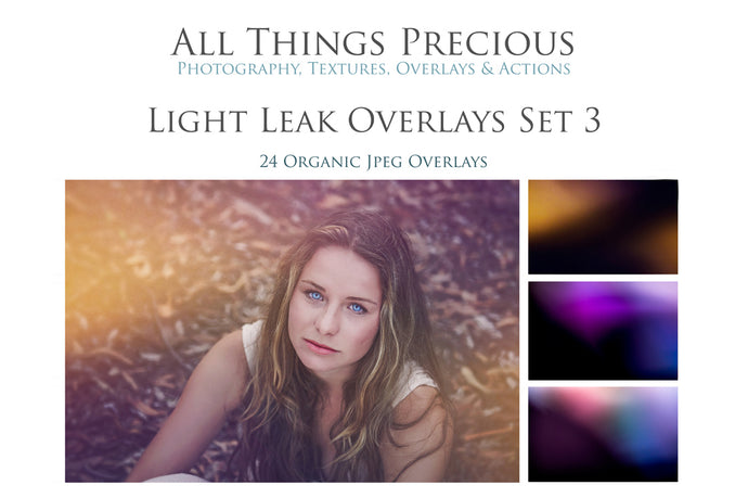 24 LIGHT LEAK FLARE Set 3 Digital Overlays