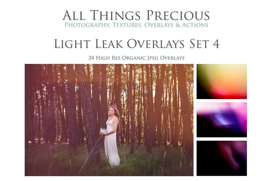 24 LIGHT LEAK FLARE Set 4 Digital Overlays