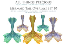 Load image into Gallery viewer, MERMAID TAILS Set 10 - Digital Overlays