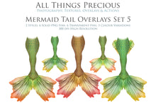 Load image into Gallery viewer, MERMAID TAILS Set 5 - Digital Overlays