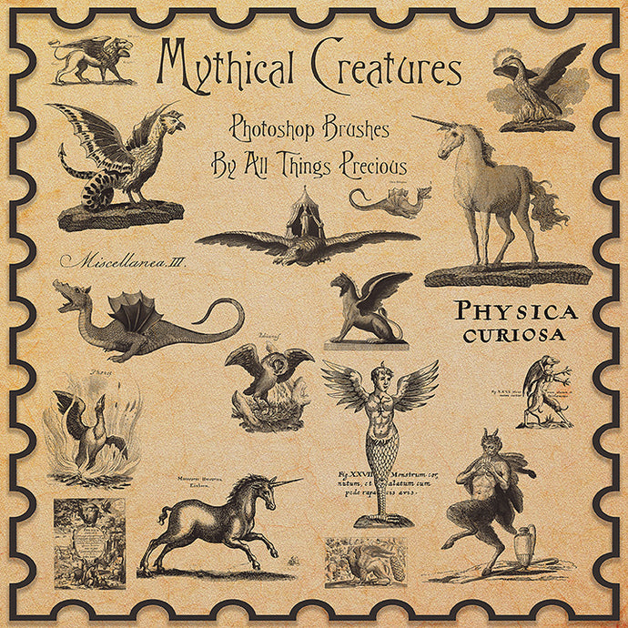 PHOTOSHOP BRUSHES - Vintage Mythical Creatures - FREE DOWNLOAD