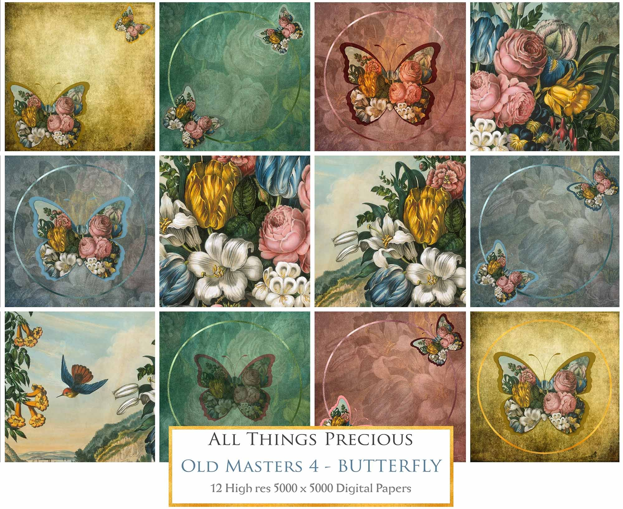 OLD MASTERS BUTTERFLY Set 4 - Digital Papers