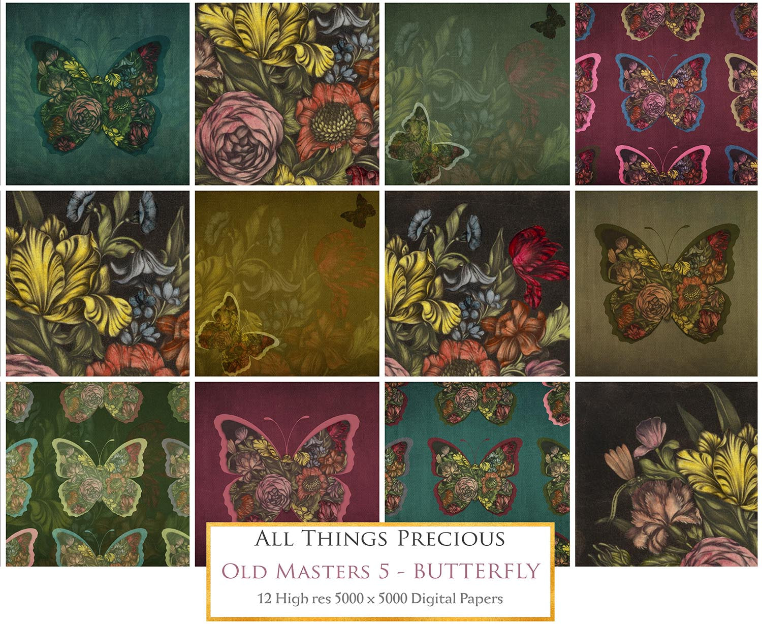 OLD MASTERS BUTTERFLY Set 5 - Digital Papers