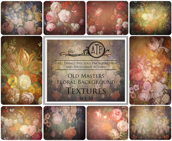 10 OLD MASTERS Floral Background TEXTURES / DIGITAL BACKDROPS  - Set 10