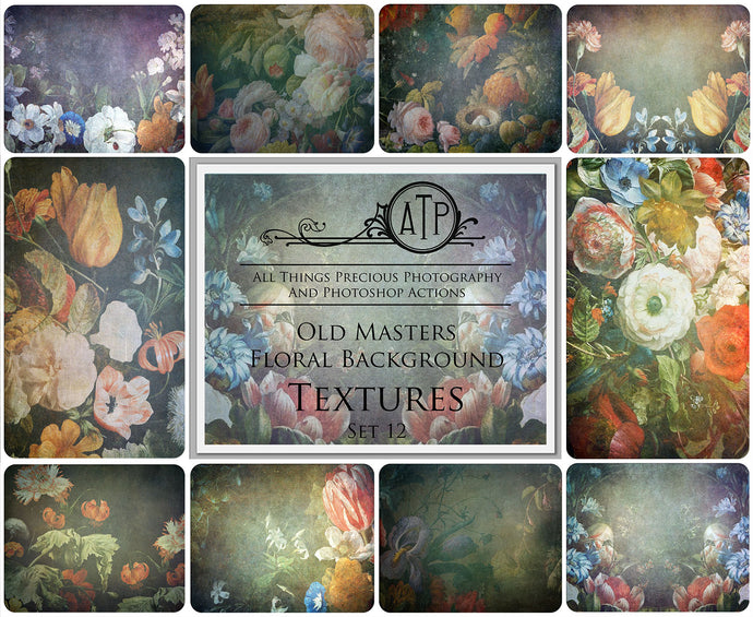10 OLD MASTERS Floral Background TEXTURES / DIGITAL BACKDROPS  - Set 12
