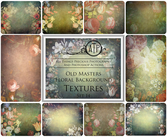 10 OLD MASTERS Floral Background TEXTURES / DIGITAL BACKDROPS  - Set 14