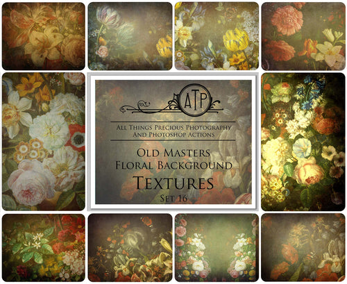10 OLD MASTERS Floral Background TEXTURES / DIGITAL BACKDROPS  - Set 16