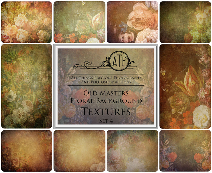 10 OLD MASTERS Floral Background TEXTURES / DIGITAL BACKDROPS - Set 4