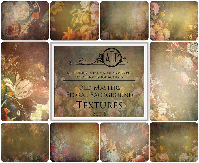 10 OLD MASTERS Floral Background TEXTURES / DIGITAL BACKDROPS - Set 6