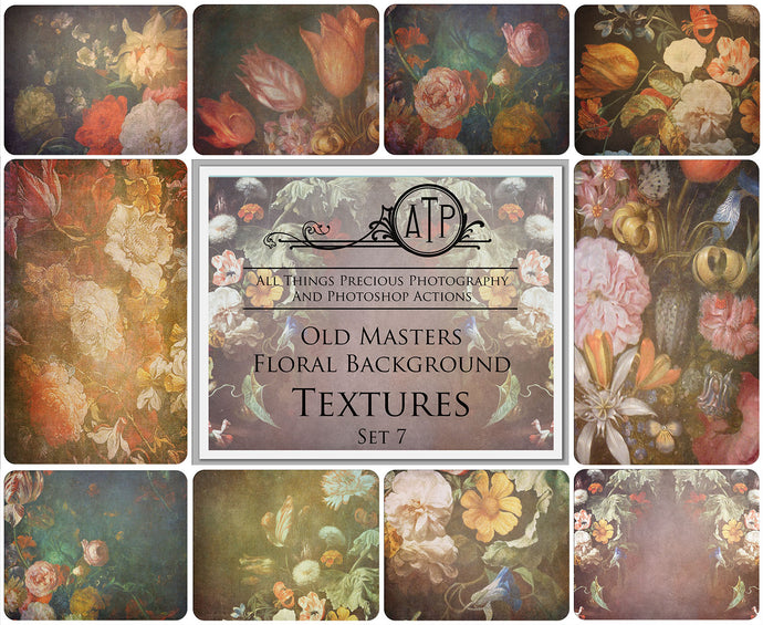 10 OLD MASTERS Floral Background TEXTURES / DIGITAL BACKDROPS - Set 7