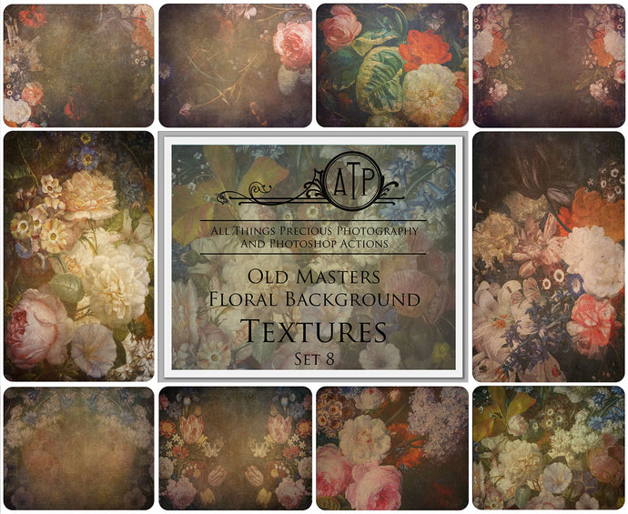 10 OLD MASTERS Floral Background TEXTURES / DIGITAL BACKDROPS - Set 8