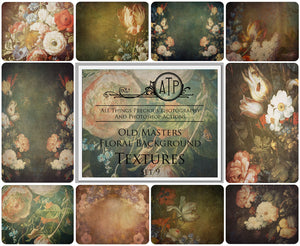 10 OLD MASTERS Floral Background TEXTURES / DIGITAL BACKDROPS - Set 9