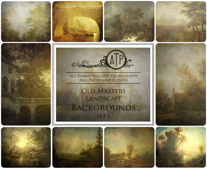 10 OLD MASTERS Landscape Background TEXTURES / DIGITAL BACKDROPS  - Set 1