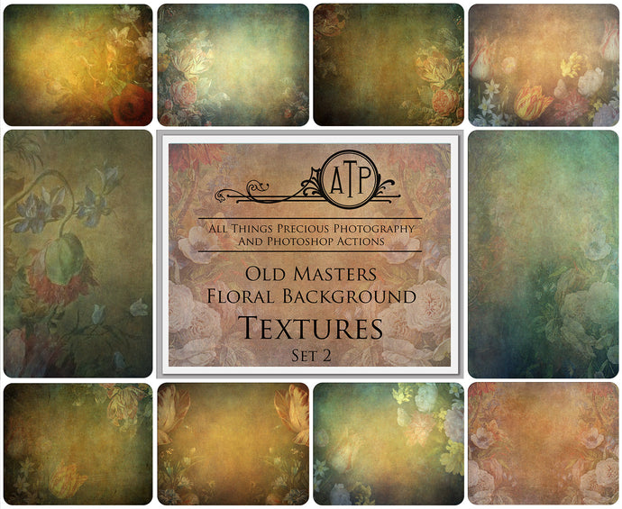 10 OLD MASTERS Floral Background TEXTURES / DIGITAL BACKDROPS - Set 2