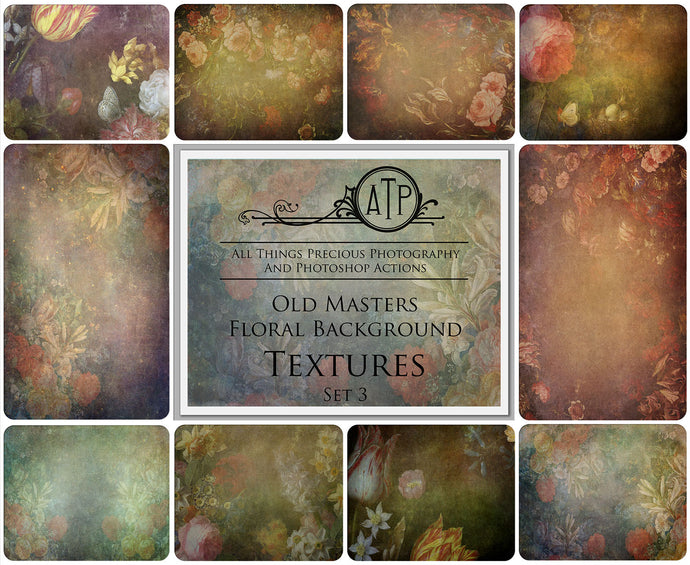 10 OLD MASTERS Floral Background TEXTURES / DIGITAL BACKDROPS  - Set 3