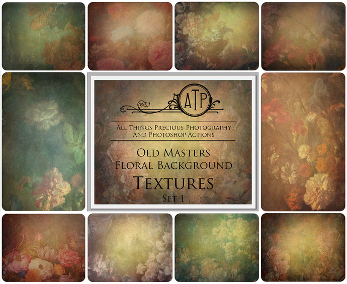 10 OLD MASTERS Floral Background TEXTURES / DIGITAL BACKDROPS - Set 1